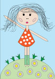 Little girl. Children's drawing, red dress in peas, a green clearing with camomiles, the blue sky Stock Image