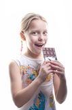 Little girl with chocolate Stock Photography