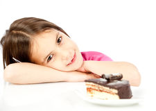 Little girl with chocolate cake Stock Photography