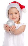 Little girl with christmas ball Stock Image
