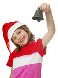 Little girl with christmas bell Royalty Free Stock Photos