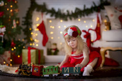 Little girl at christmas Eve Royalty Free Stock Photos