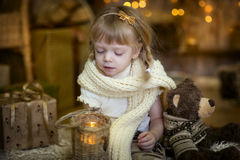 Little girl at christmas Eve Stock Photography