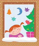 Little girl in the christmas eve Stock Photography