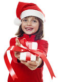 Little girl with a christmas gift Royalty Free Stock Photography