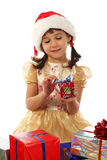 Little girl with Christmas gift box Stock Images