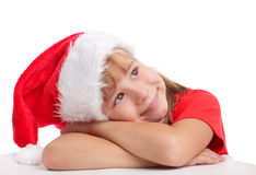 Little girl in christmas hat Royalty Free Stock Photos