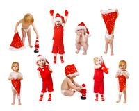 Little girl in christmas hat Royalty Free Stock Photo