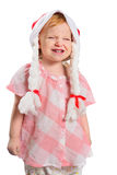 Little girl in a Christmas hat Stock Image