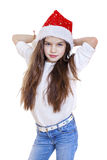 Little girl on christmas isolated in white Royalty Free Stock Photography