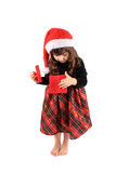 Little girl christmas present Stock Photo