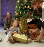 Little girl with christmas presents Stock Photography