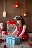 Little girl on christmas royalty free stock photo