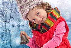 Little girl in christmas time Royalty Free Stock Images