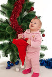 Little girl at Christmas time Royalty Free Stock Images