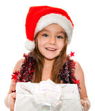 Little girl at Christmas time Stock Photos