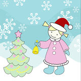 Little girl and christmas tree. Vector illustration of a little girl with christmas tree Royalty Free Stock Photography