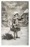Little girl christmas tree gifts vintage toys stock photos
