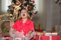 Little girl with Christmas stock photo