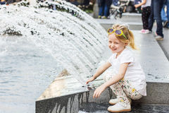 Little Girl in the City Royalty Free Stock Images