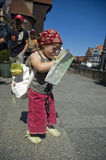Little girl with a city map. travel. Little girl with a city map. Gdansk. Poland stock image