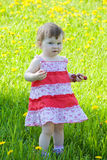Little girl city park on walk Royalty Free Stock Photography