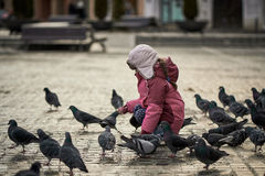 Little girl in a city square feeding pigeons Royalty Free Stock Photos
