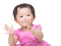 Little girl clapping hand Stock Images