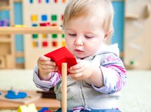 Little girl in the classroom early development Royalty Free Stock Photos