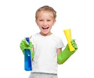 Little girl cleaning Royalty Free Stock Image