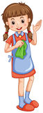 Little girl with cleaning cloth Stock Images