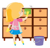 Little girl cleaning drawers. Illustration vector illustration