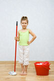 Little Girl Cleaning The Floor Royalty Free Stock Photography