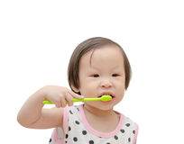 Little girl cleansing her tooth by toothbrush Royalty Free Stock Photo