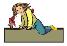 The little girl climbed somewhere. The figure of a little girl with pigtails. girl somewhere climbed and sits there. Graphics. Cartoon drawing Stock Image