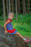 Little girl climbed on tree Royalty Free Stock Images