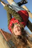 Little girl climbing royalty free stock image