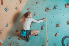 Little girl climbing indoor Royalty Free Stock Photo