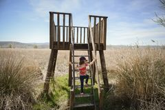 Little girl climbing to a wooden observation tower in a wetland royalty free stock photo