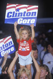 Little girl with Clinton/Gore sign stands out in the crowd during the Clinton/Gore 1992 Buscapade campaign tour in Tyler, Texas Royalty Free Stock Images