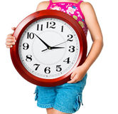 Little girl with clock Royalty Free Stock Photography
