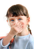 Little Girl close the Nose Stock Images