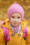 Little girl close-up in pink Stock Photos