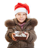 Little girl closeup in warm winter Royalty Free Stock Photos