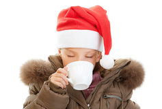 Little girl closeup in warm winter Royalty Free Stock Image