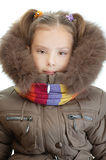 Little girl closeup in warm winter Stock Photo