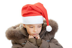 Little girl closeup in warm winter Stock Photos
