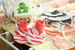 Little girl clothes on a drying rack Stock Photo