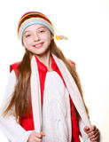 Little girl with clothes for the winter Royalty Free Stock Photos