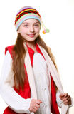 Little girl with clothes for the winter Stock Photography